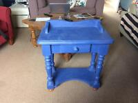 Pine console painted blue
