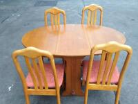 Used condition folding dining table + 4 chairs only £55 good bargain
