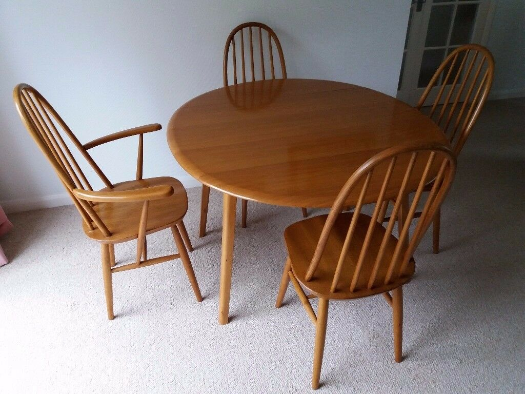 Vintage Priory Drop Leaf Dining Table With 4 Chairs 3 1 Carver
