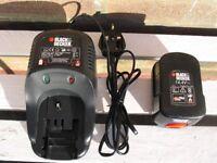 Black & Decker 14.4V Ni-Cd Charger and 14.4v battery (see photos).