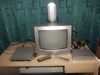 FREE - Colour Portable T.V, Freeview Box and DVD player