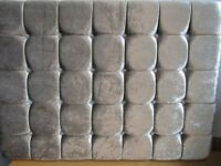 Brand new double bed headboard in silver crushed velvet and crystal buttons