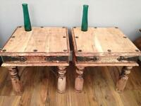 Two Sheesham side tables
