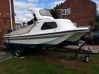 Fishing boat. Fastnet 17 with 55hp Suzuki PTT outboard and Trailer