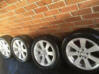 "Genuine Merc Alloys 16"" VGC 5x112 Audi VW Transporter Vito A B C E R S Class CLK tires good Yokohama"
