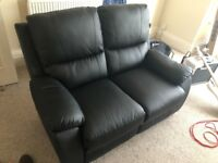 2 seat reclining leather sofa