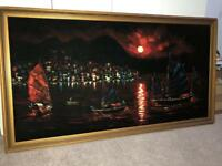 Large Oriental signed Suede Painting.