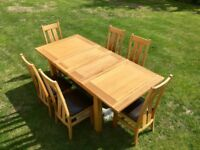 Solid Oak Dining Table and Six Matching Chairs
