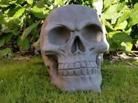 Skull ; cast stone garden ornament