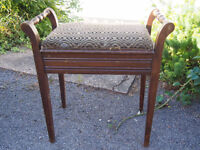 Old Antique Edwardian Piano Stool/Dressing Table Stool with Lift Up Seat & Handles Needs Some TLC