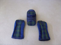 GOLF CLUB WIPE CLEAN BALL & TEE HOLDER AND 2 IRON COVERS
