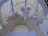 2 x Moses baskets plus a selection of white and blue sheets for the mattress.