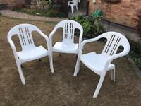 Chairs X3 Garden White Plastic