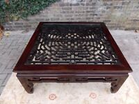 FINE ANTIQUE LARGE CHINESE QING DYNASTY HAND CARVED ROSEWOOD LOW/COFFEE TABLE COST LIBERTYS £2000