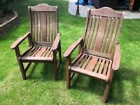 Set of 8 solid wood garden chairs with cushions