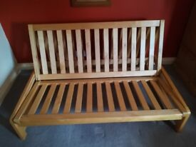 Solid birch Futon Base (2 seater sofa; double bed)