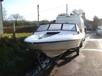 swap Project Fletcher Brave 17 on trailer with mercury 60 hp and power tilt trim may swap