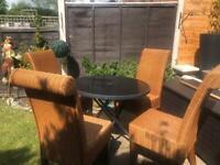 Wicker outdoor/indoor set table & chairs