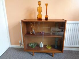 Vintage 60's Small Teak & Glass Cabinet