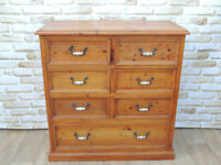 Large Unique rustic pine chest of drawers Chunky and Heavy (Delivery)
