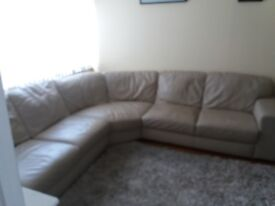 Italian Leather Beige Corner Sofa