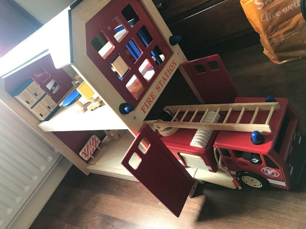 Large Wooden Kids Fire Station