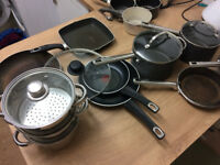 All the saucepans, frying pans & other pans you could need. Great quality and well loved