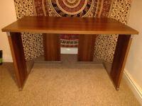 Dark wood finish office desk with metal frame
