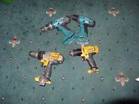 Job lots 4 cordless drills for spares or repairs: 2 MAKITA 8391D 18v and 14.4v 6381D COMBI-
