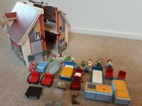 Playmobile carry dolls house inc furniture and people