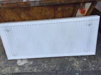 Large white central heating radiator