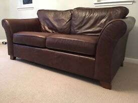 2 x Marks and Spencer brown leather sofas suite-abbey