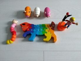 5 small wooden toys and wooden cat puzzle (age range 18 months +)