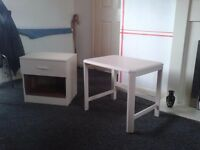 Coffee table and 1 drawer cabinet for sale.