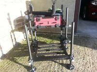 Fishing seat and box ( browning ) with adjustable legs and foot plate. never been used ex condition