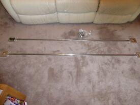 2 x Silver Curtain Poles