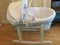 White wick Moses basket with stand! Free sheets