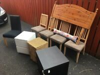 **Furniture Clearance: Dining Chairs, Bedside Lockers & Drawers, Headboard, Laundry Basket JOB LOT**