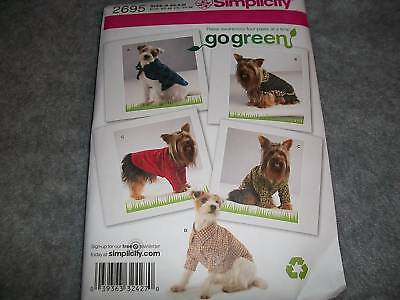 DOG PET COATS CLOTHES SEWING PATTERNS S2695 SIZE EXTRA SMALL, SMALL & MEDIUM