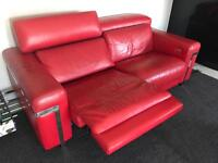 1 x red leather electric reclining sofa