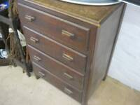 VINTAGE OAK CHEST OF DRAWERS. 4 DRAWERS, BAR HANDLES. IDEAL PAINTED PROJECT. VIEW/DELIVERY POSS