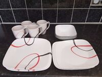 Corelle Fine Lines 16 piece SQUARE modern dinnerware set Well looked after. RRP £120