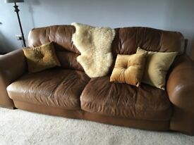 Bargain large leather sofa and chair - only £80!