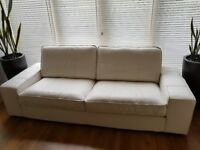 Cream Leather Settee - 3 Seater