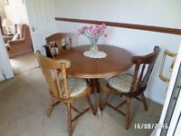 dinning room table and 4 chairs solid yew