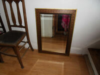 large bevelled edge mirror 23''x 32 ins, nice mirror patterned edge could be painted or decopaged.