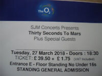 2 x Standing Thirty Seconds To Mars tickets -Tuesday 27th March at the O2