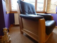 Leather 3 Seat Sofa & 2 Armchairs