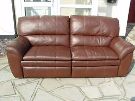 Recliner Leather Sofa in a Chocolate Brown