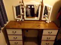 Wooden dressing table and mirror